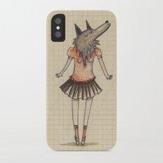 Woman Wolf at school Slim Case iPhone X