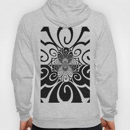 Black and White Negative Fractal Pattern Design Hoody