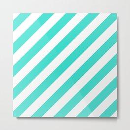 Diagonal Stripes (Turquoise/White) Metal Print