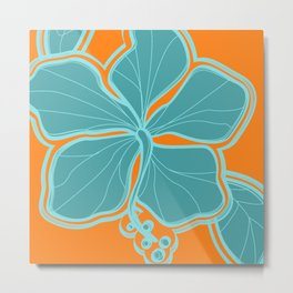 Kailua Hibiscus Hawaiian Engineered Floral Metal Print