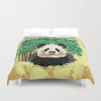 splatter Duvet Covers featuring Splatter Panda by grapeloverarts