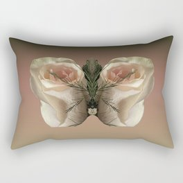 Vanilla Butterfly Roses Rectangular Pillow