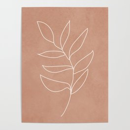 Engraved Leaf Line Poster