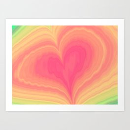 Abstract Tropical Pastel Rainbow Heart Pattern | Valentine's Day Art Print