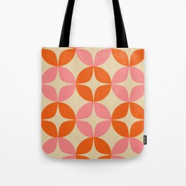 Mid Century Modern Pattern in Pink and Orange Tote Bag