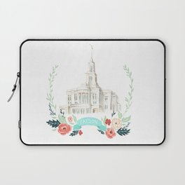 LDS Payson Temple Watercolor painting with flower wreath  Laptop Sleeve