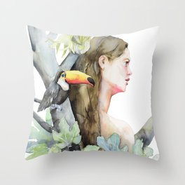 Carica the Girl of the Jungle, Toucan Friend Throw Pillow