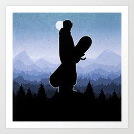 Snowboard Skyline Stand Art Print