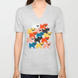 COLORED PUGS PATTERN no2 Unisex V-Neck