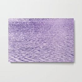 Ultra Violet Glittering Wavy Pattern | Trendy Color of year 2018 Metal Print
