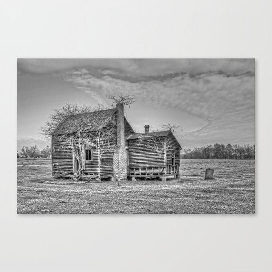 Overgrown Old House in B&W Canvas Print