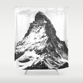 Black and White Mountain Shower Curtain