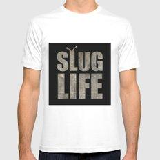 slug Life - Slacker Logo SMALL White Mens Fitted Tee