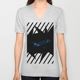 Blue airplane on black background Unisex V-Neck