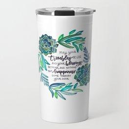 Succulent Wreath with Irish Blessing Travel Mug