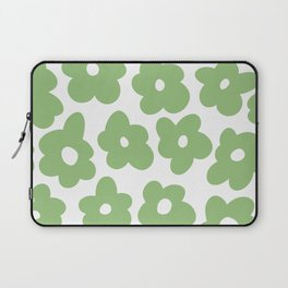 Psychedelic Sage Green 60's Flowers 2 Laptop Sleeve