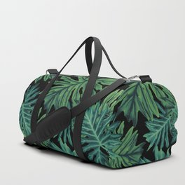 Philo Hope - Tropical Jungle Night Leaves Pattern #1 #tropical #decor #art #society6 Duffle Bag