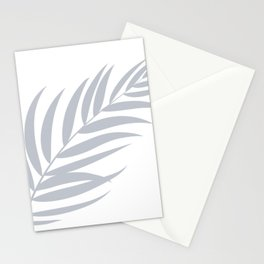 Light Pastel Gray White Coastal Frond Palm leaf Stationery Cards
