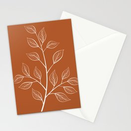 Delicate White Leaves and Branch on a Rust Orange Background Stationery Cards