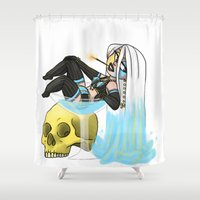 cherry Shower Curtains featuring cherry by kawaii shark