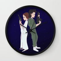 ripley Wall Clocks featuring Leia and Ripley by Ashley Anderson