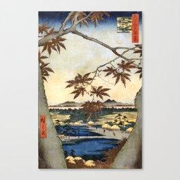 The maple leaves of Mama - Utagawa Hiroshige  Canvas Print