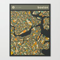 boston map Canvas Prints featuring BOSTON MAP by Jazzberry Blue