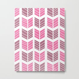 Modern Tribal Aztec Chevrons – Mulberry Pink and Plum Violet Metal Print