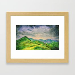 Moody Mountains in the Lake District, England. watercolor painting Framed Art Print