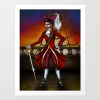 captain hook Art Prints featuring Captain Hook by Callie Clara