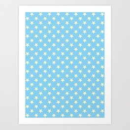 Cream Yellow on Baby Blue Stars Art Print