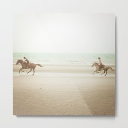Horses on the Beach Metal Print