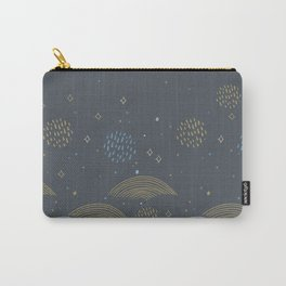 magic tale abstract scales, sky clouds and stars, Nature doodle lines scandinavian style. Nursery Carry-All Pouch