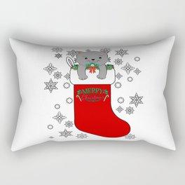 Cute Merry Christmas Cat Kitty Stocking Stuffer Rectangular Pillow