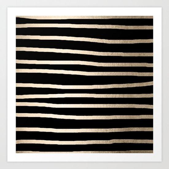 Simply Drawn Stripes White Gold Sands on Midnight Black Art Print
