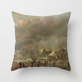 Snowfall on a village beside a frozen canal, Aert van der Neer, 1630 - 1677 Throw Pillow