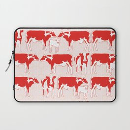 Pattern with retro red cows, retro pattern and colours Laptop Sleeve