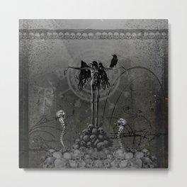 Awesome crow skeleton with skulls Metal Print