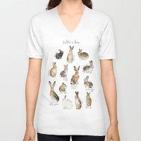 rabbits V-neck T-shirts featuring Rabbits & Hares by Amy Hamilton