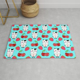 Cute funny sweet adorable happy baby cows, little cherries and red ripe summer strawberries cartoon fantasy light pastel blue pattern design Rug