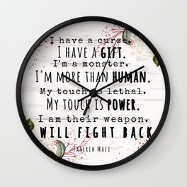 I Will Fight Back - Shatter Me by Tahereh Mafi Wall Clock