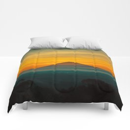 Mountain Volcano In The Distant Green Yellow Orange Sunset Hues Landscape Photography Comforters