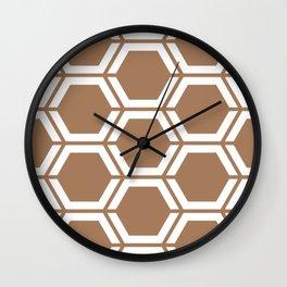 Café au lait - violet - Geometric Polygon Pattern Wall Clock