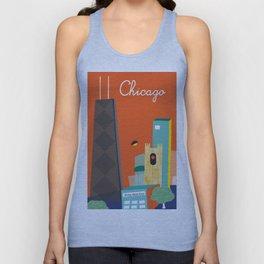 Chicago, Illinois - Skyline Illustration by Loose Petals Unisex Tank Top