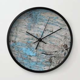 Peeled Blue Paint on Wood rustic decor Wall Clock