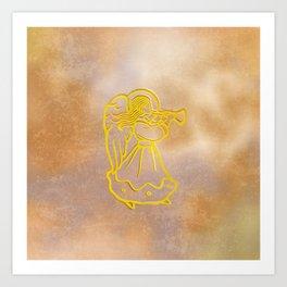 Golden Angel with trumpet Art Print
