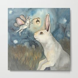 Night Bunny Fairy Metal Print