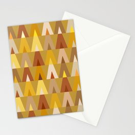 Deer Head Geometric Triangles | mustard yellow taupe Stationery Cards