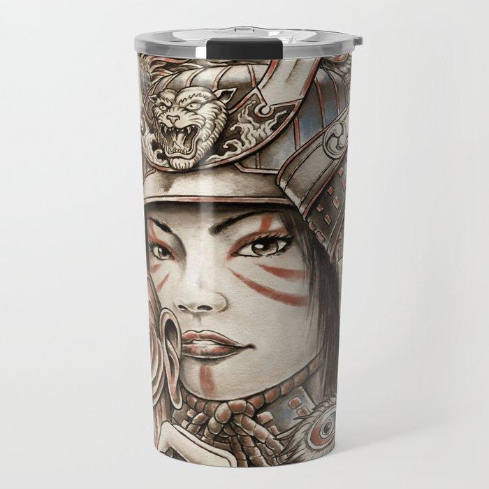 Peacock Samurai Travel Mug