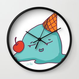 Melted Ice Cream with Red Cherry Wall Clock